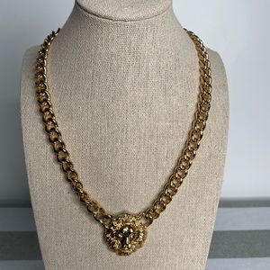 Gold chain lion head necklace